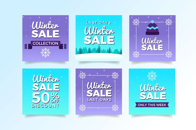 Post di social media di vendita invernale viola e blu Vettore gratuito