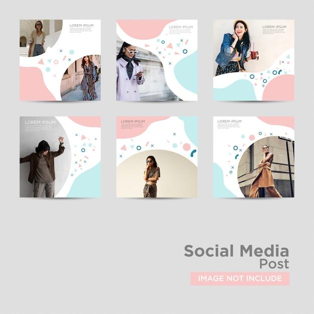 Post di social media per modello di marketing digitale Vettore Premium