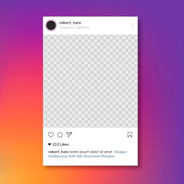 Post frame di instagram Vettore gratuito