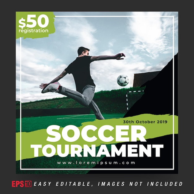 Post per banner social media per torneo di pallone da calcio in colore combinazione nero e verde Vettore Premium