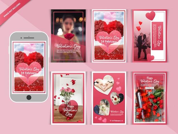 Post su instagram post romantico di san valentino Vettore Premium