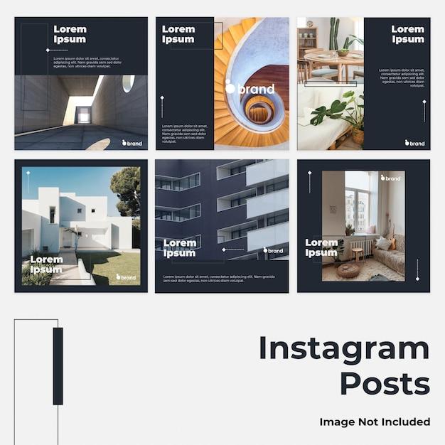 Post su instagram social media minimalista blu scuro Vettore Premium