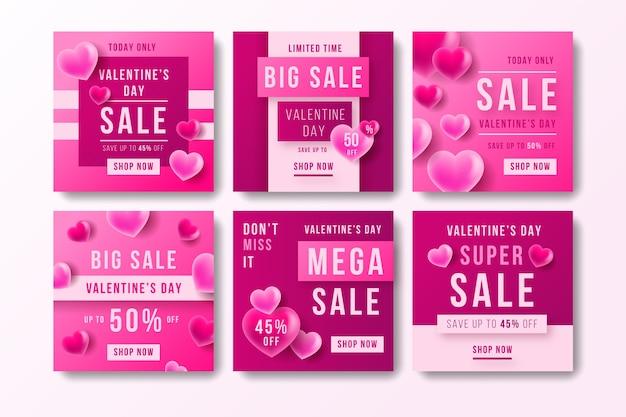 Posta di instagram di vendita di san valentino Vettore gratuito