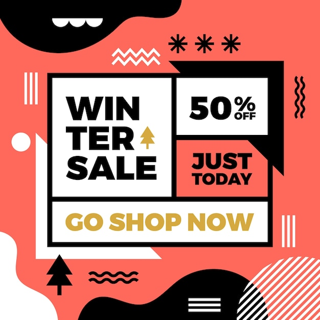 Posta di instagram di vendita inverno piatto Vettore gratuito