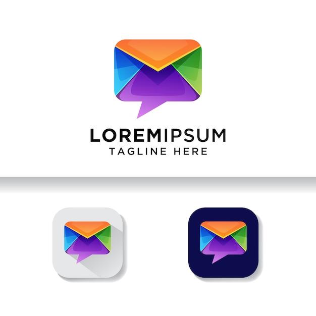Posta di talk colorato, modello di logo di chat di posta Vettore Premium