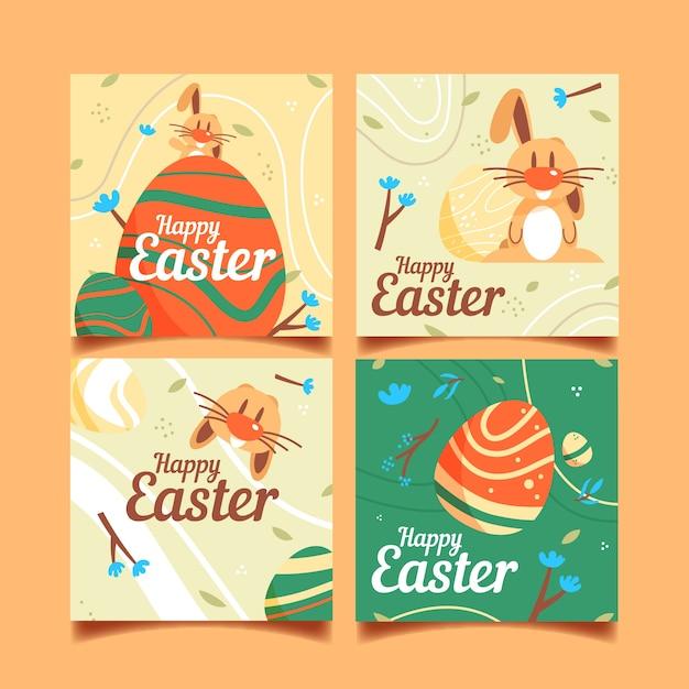 Posta felice del instagram di giorno di pasqua con coniglio divertente Vettore gratuito