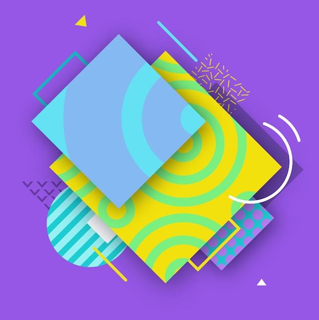 Poster a colori astratti in stile alla moda con forme geometriche Vettore Premium