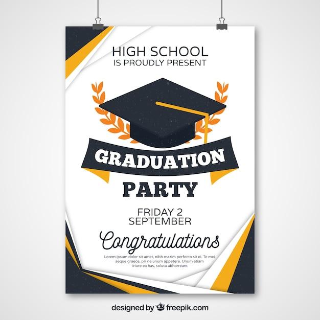 Poster astratta di partito di graduazione Vettore gratuito