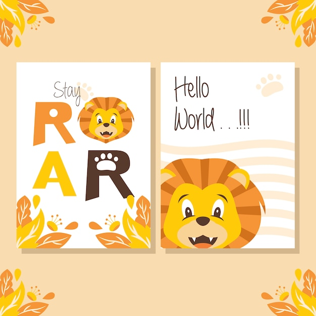 Poster baby shower con cute lion illustration Vettore Premium