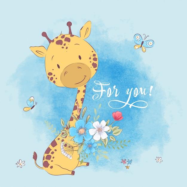 Poster carino giraffa fiori e farfalle. disegno a mano stile cartoon illustrazione vettoriale Vettore Premium