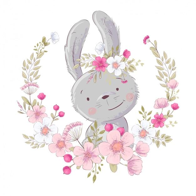 Poster cartolina carino piccolo coniglietto in una corona di fiori. Vettore Premium