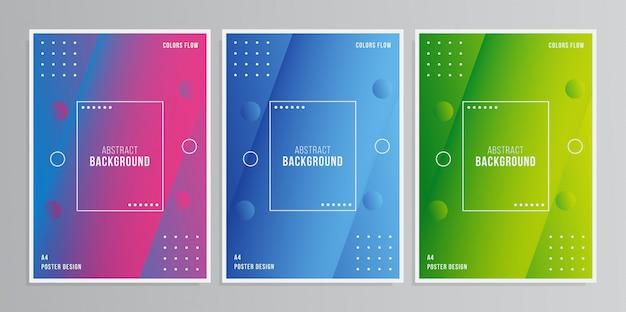 Poster colorato 3d Vettore Premium