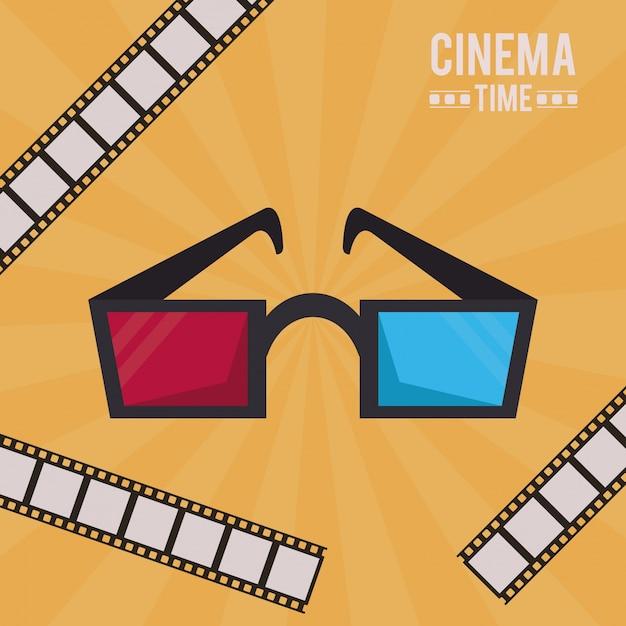 grande vendita Liquidazione del 60% servizio duraturo Poster colorato di tempo del cinema con occhiali 3d e nastro ...