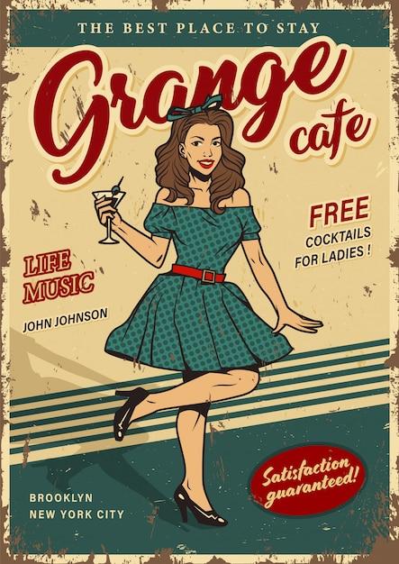 Poster colorato festa retrò con pin up girl Vettore gratuito