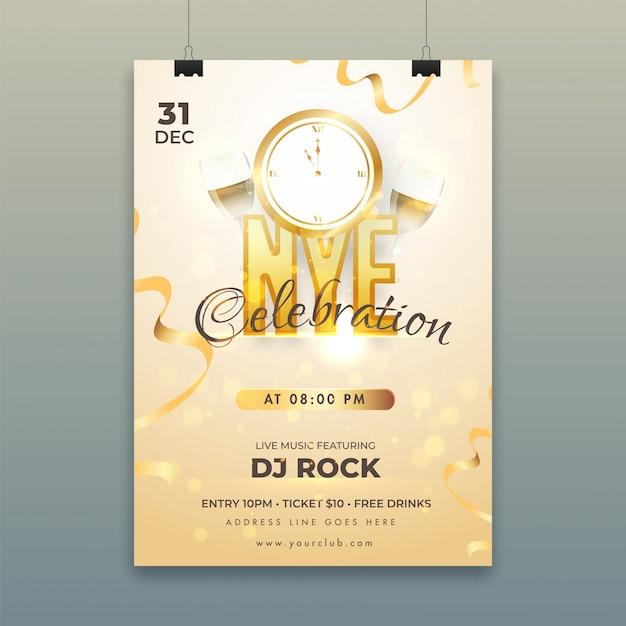 Poster con timer per il conto alla rovescia, bicchieri da vino e dettagli del locale per la celebrazione di new york (capodanno). Vettore Premium