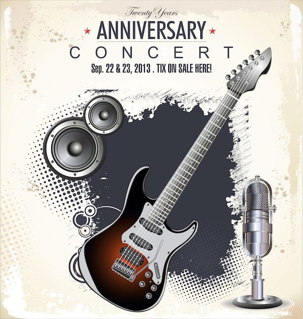 Poster concerto rock Vettore Premium