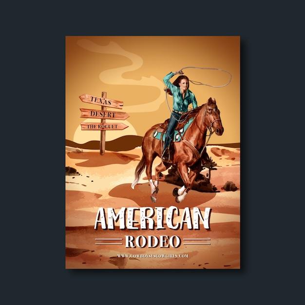 Poster da cowboy con deserto, cavallo, donna Vettore gratuito