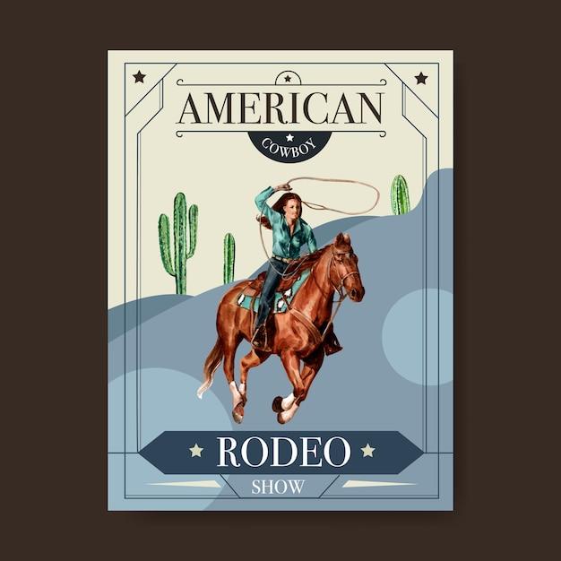 Poster da cowboy con donna, cavallo, cactus Vettore gratuito