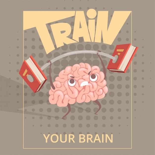 Poster del cervello di sport. cartoon mente facendo esercizi di power training Vettore Premium