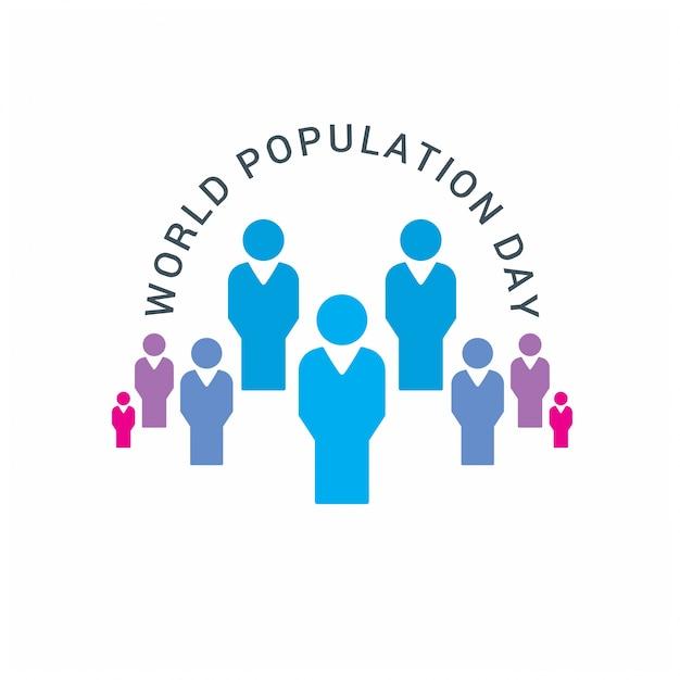 Poster del giorno della popolazione mondiale Vettore gratuito