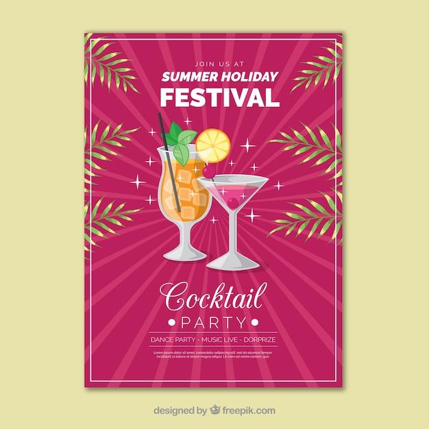 Poster del partito di cocktail Vettore gratuito