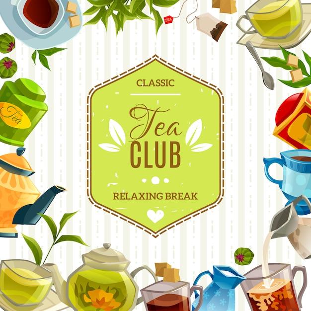 Poster del tea club Vettore gratuito