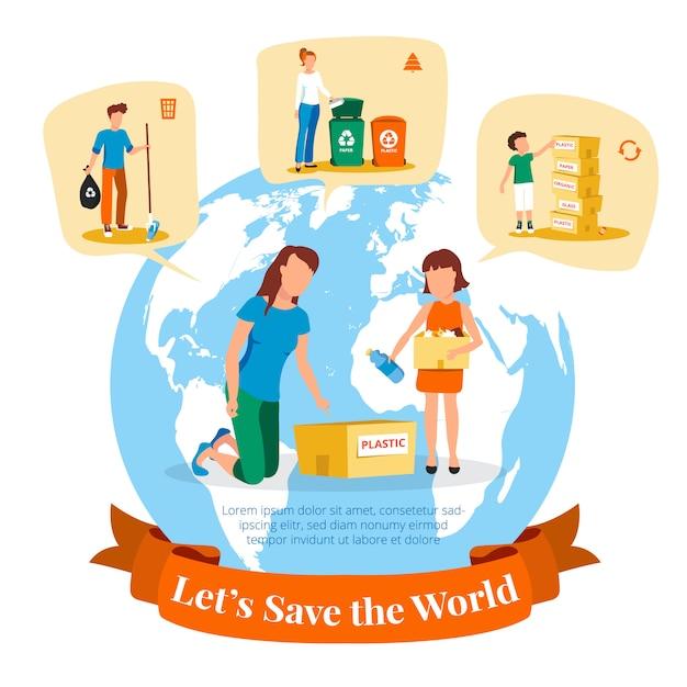 Poster dell'agenzia per l'ambiente con informazioni sulla raccolta e selezione dei rifiuti per il riciclaggio Vettore gratuito