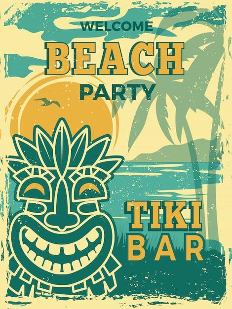 Poster della barra di tiki. cartello retrò di maschere in legno tribale tiki hawaii invito festa estiva spiaggia Vettore Premium