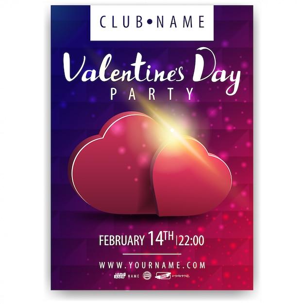 Poster della festa di san valentino con i cuori Vettore Premium