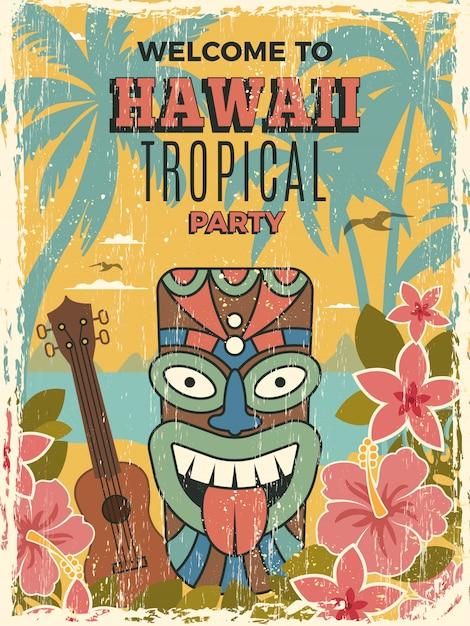 Poster delle hawaii. illustrazioni di maschere tribali africane di tiki dell'invito del partito di ballo di estate Vettore Premium