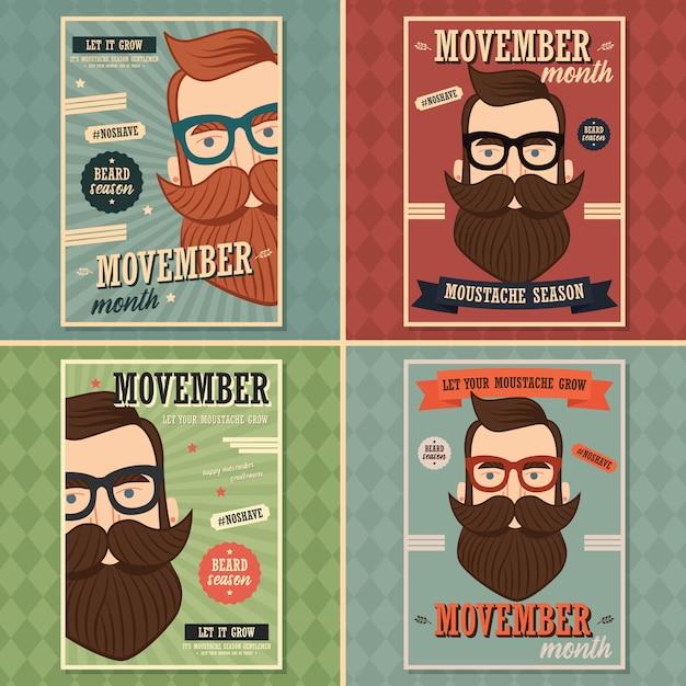 Poster design di movember, consapevolezza del cancro alla prostata, uomo hipster con barba e baffi Vettore Premium