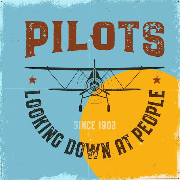 Poster di aeroplano d'epoca. i piloti che osservano le persone citano e biplano Vettore Premium