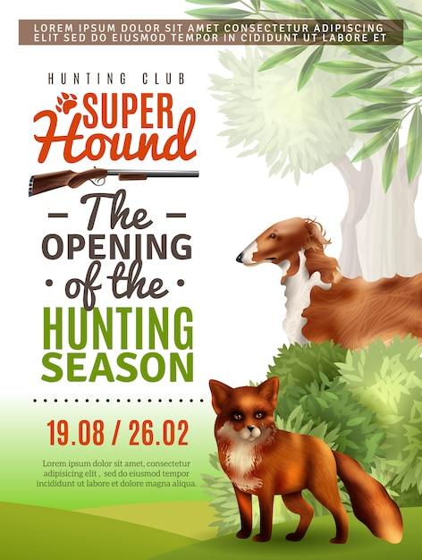 Poster di apertura della stagione di caccia Vettore gratuito