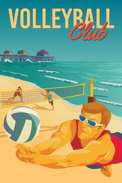 Poster di beach volley Vettore Premium