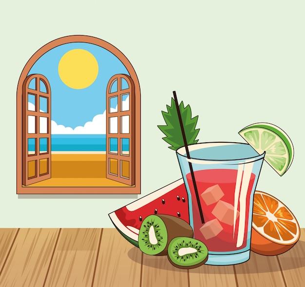 Poster di bevanda cocktail tropicale Vettore Premium