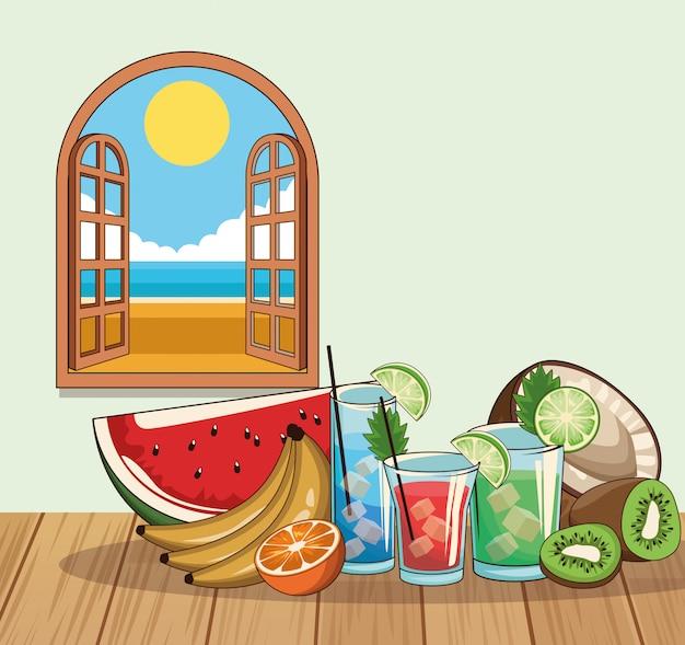 Poster di bevande cocktail tropicale Vettore Premium