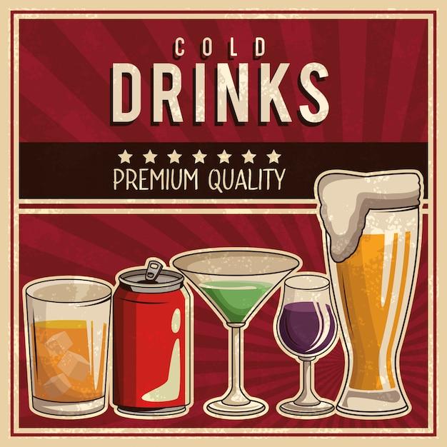 Poster di bevande vintage Vettore Premium