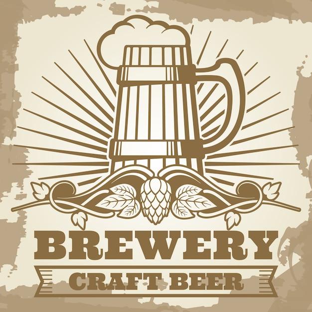 Poster di birreria retrò con etichetta di birra Vettore Premium