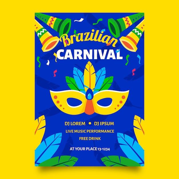 Poster di carnevale brasiliano con maschera Vettore gratuito