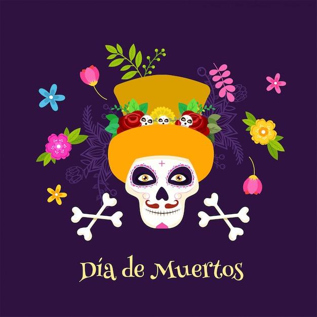 Poster di celebrazione di dia de muertos con teschio di zucchero o calaveras, tibie incrociate e fiori decorati in viola. Vettore Premium