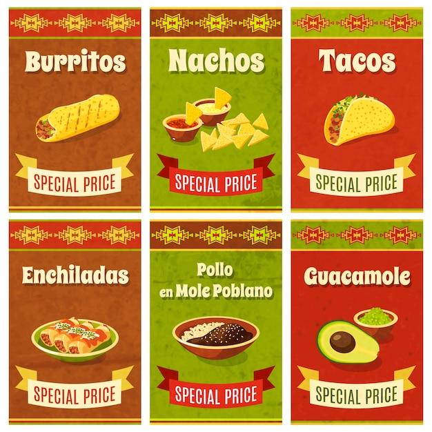 Poster di cibo messicano Vettore gratuito