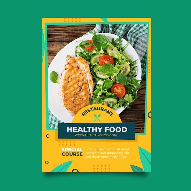 Poster di cibo sano ristorante con foto Vettore gratuito
