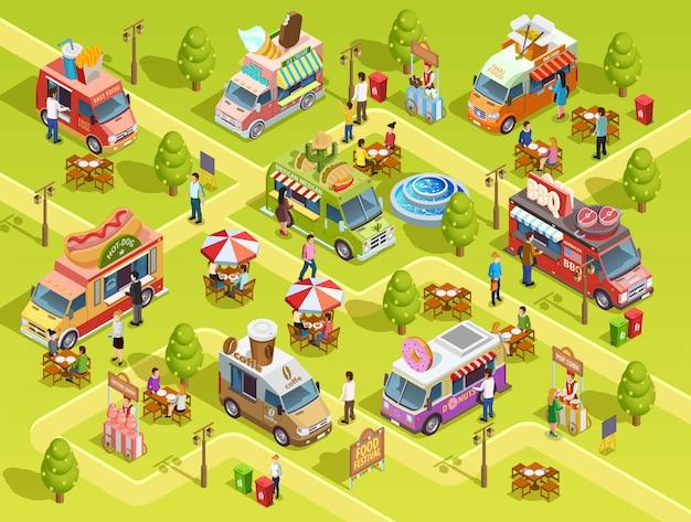 Poster di composizione isometrica di camion di cibo all'aperto Vettore gratuito