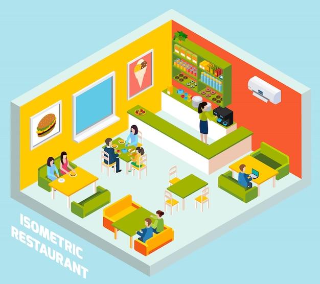 Poster di composizione isometrica interni bar ristorante Vettore gratuito