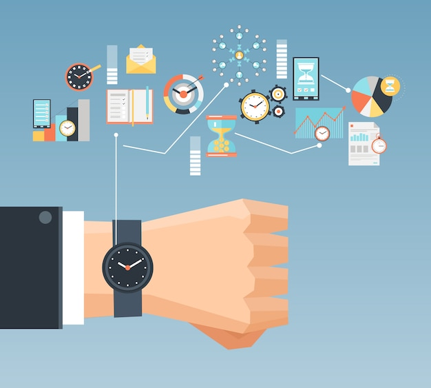 Poster di composizione piatta concetto di gestione del tempo Vettore gratuito