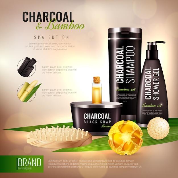 Poster di cosmetici per il corpo in carbone e bambù Vettore gratuito