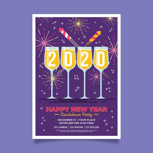 Poster di felice anno nuovo 2020 fuochi d'artificio d'oro e champagne Vettore gratuito