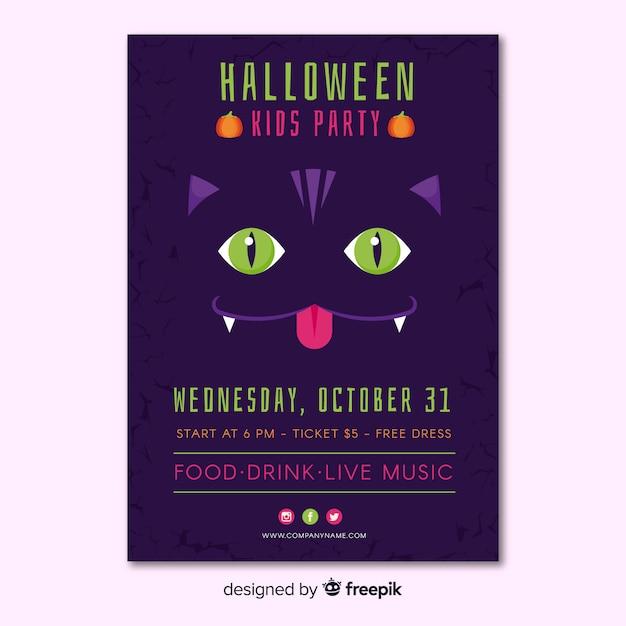 Poster di festa di halloween incantevole con design piatto Vettore gratuito