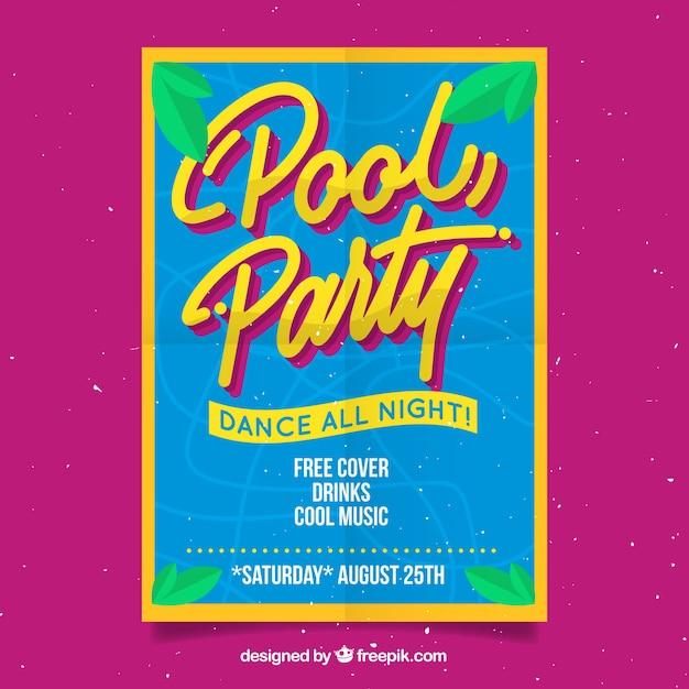 Poster di festa in piscina con foglie di palma Vettore gratuito