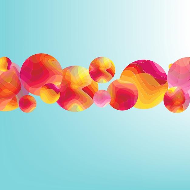 Poster di flusso di colore con banner di palle Vettore Premium